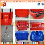 Panier à provisions en plastique de traitement des prix bon marché double (Zhb29)