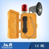 Telefone à prova de intempéries da transmissão com luz, telefone industrial com baliza e chifre
