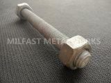 ASTM A193 gr. B7 a fileté Rods avec l'IMMERSION chaude d'ASTM A194 gr. 8 galvanisée