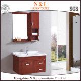 Module de salle de bains moderne de miroir de chêne en bois solide de type