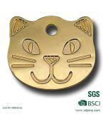 Kundenspezifisches Metallgoldene unbelegte Katze-Gesichts-Haustier Identifikation-Marken mit Sandstrahlen (w-17)