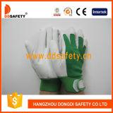 Handschoenen DLP414 van het Leer van het Varken van het Manchet van het Leer van de Korrel van het varken de Groene Elastische