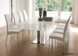 Silla de cena blanca elegante de cuero simple moderna del acero inoxidable (NK-DCA001-1)