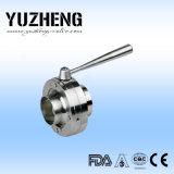 Válvula de mariposa inoxidable sanitaria de Yuzheng con los extremos de la soldadura
