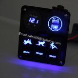 3명의 갱 로커 스위치 위원회 + 12V LED 전압계를 + 해병/배/차를 위한 두 배 USB 전원 출구 충전기 방수 처리하십시오