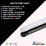 Tubo Warrenty do diodo emissor de luz de Approvalled T8 do CE 3 anos de 36W 240cm
