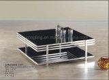 단순한 설계 거친 유리제 스테인리스 커피용 탁자 가구