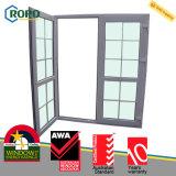 Doble puerta plástica del marco de la vidriera UPVC/PVC de la casa moderna con la parrilla