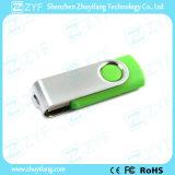 Luz - movimentação verde do USB do plástico 16GB da torção do metal (ZYF1822)