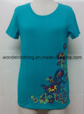 Teeshirt en gros chaud de fille de broderie de mode de coton rond fait sur commande de cou