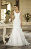 Robe de mariage simple d'action de V-Collet de robes nuptiales de Tulle de lacet W175282