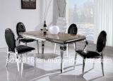 現代大理石、ホームデザイン考えのためのガラスステンレス鋼フレームのダイニングテーブル