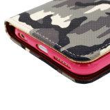 Geval van de Telefoon van de Cel van het Geval Pu van het Leer van de Camouflage van het leger het Grijze Mobiele