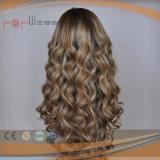 Handtied brasilianische Jungfrau-Haar-Spitze-Vorderseite-lockiges Haar-Perücke
