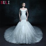 Appliques Button Real Photo Wedding Dress (ZXB-2)