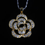 Mooie bloemvorm zirconia Fashion Zilveren Ketting Sieraden