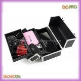 Caso cosmético de la mata de la PU del maquillaje de la belleza de aluminio barata de cuero negra del caso (SACMC002)