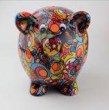 Vente en gros et tirelire en céramique colorée de porc d'OEM pour la pièce de monnaie