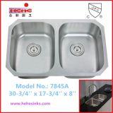 Dissipador de cozinha do aço inoxidável com a instalação inferior da montagem (7845A)