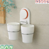 Aspiration Cup Bathroom Storage Holder avec Double Tooth Cup