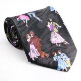 Cravate estampée par fantaisie faite sur commande de polyester de soie de 100% (NT-004)