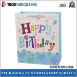 sac de papier de cadeau d'anniversaire du panneau 210g en ivoire
