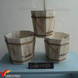 Benna di acqua di legno della retro dell'azienda agricola dell'annata piantatrice del fiore