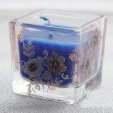 Vela de cristal redonda y cuadrada de la etiqueta promocional de la flor del tarro