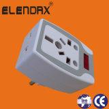 Adaptateur réglé de fiche de mur d'appareillage électrique, sortie de plot universelle, fiche de pouvoir (P7035)