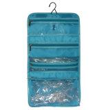 Article de toilette fait sur commande de mode de PVC de poche multi arrêtant le sac cosmétique promotionnel avec le crochet