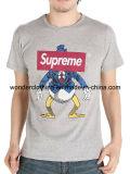 T-shirt gris de Mens de vente en gros d'été de collet de coton estampé par modèle de mode de chemise ronde de circuit