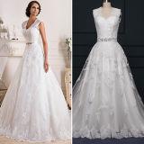 Vestidos de casamento elegantes da parte traseira do buraco da fechadura de Tulle do laço (TM-AL004)