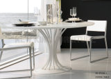 Tabella pranzante di vetro rotonda moderna dei bei piedini d'acciaio del fiore (NK-DT231-1)