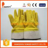 Латекс перчаток хлопка желтый полно покрытый (DCL412)