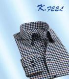 若者のためのカーキ色および青く小さい小切手のワイシャツ