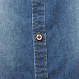 Осень 2016 Поворачивает-Вниз рубашку джинсовой ткани людей втулки ворота длиннюю