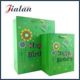 Le modèle d'anniversaire de couleur verte personnalisent le sac de papier estampé fait par Cmyk