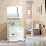 Plancher à haute teneur blanc tenant la vanité de salle de bains de PVC