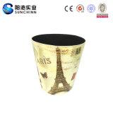 Bote de basura de cuero de tragante abierto de la PU de la torre Eiffel de París (SCTC00006)