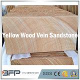 黄色いベージュ木製の構造の静脈の自然な砂岩床タイル