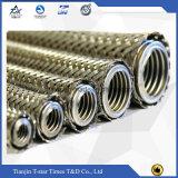Boyau tressé de métal flexible de fil d'acier inoxydable avec la pipe ondulée