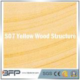 Mattonelle di pavimento naturali dell'arenaria in vena di legno beige gialla della struttura