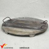 Bandeja de madera decorativa plana redonda hecha a mano elegante lamentable con la maneta