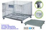 Vouwen & stapelbare Wire Mesh Pallet Bin met Wielen voor Warehouse Storage