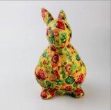 Caixa de dinheiro cerâmica Shaped do coelho com decalque cheio