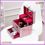 Cas rose mignon petit Maquillage avec tiroirs et miroir (SACMC052)