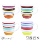 11oz Stoneware Multi Color Strip Milk Mug Cheap Price