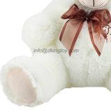 주문을 받아서 만들어진 꼭 껴안고 싶은 백색 연약한 채워진 견면 벨벳 장난감 장난감 곰