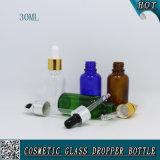 精油の液体のための点滴器が付いている30mlのこはく色か明確な緑の青い管のボストン円形のガラスビン