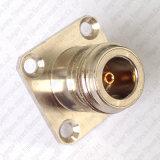 N Jack féminin au connecteur femelle de SMA avec la bride carrée 25*25mm cloison étanche de support de panneau de 4 trous